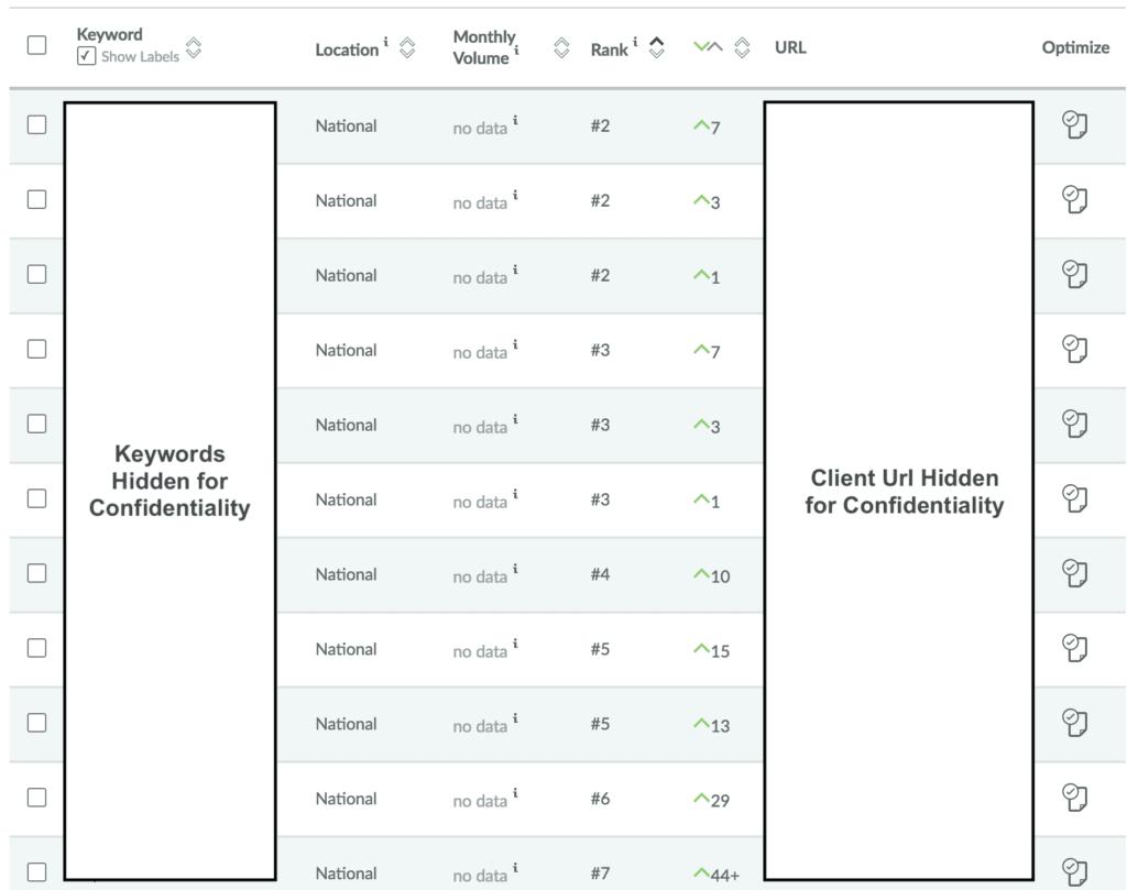 seo keyword progress example